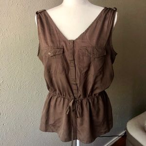 Cinched waist olive green top
